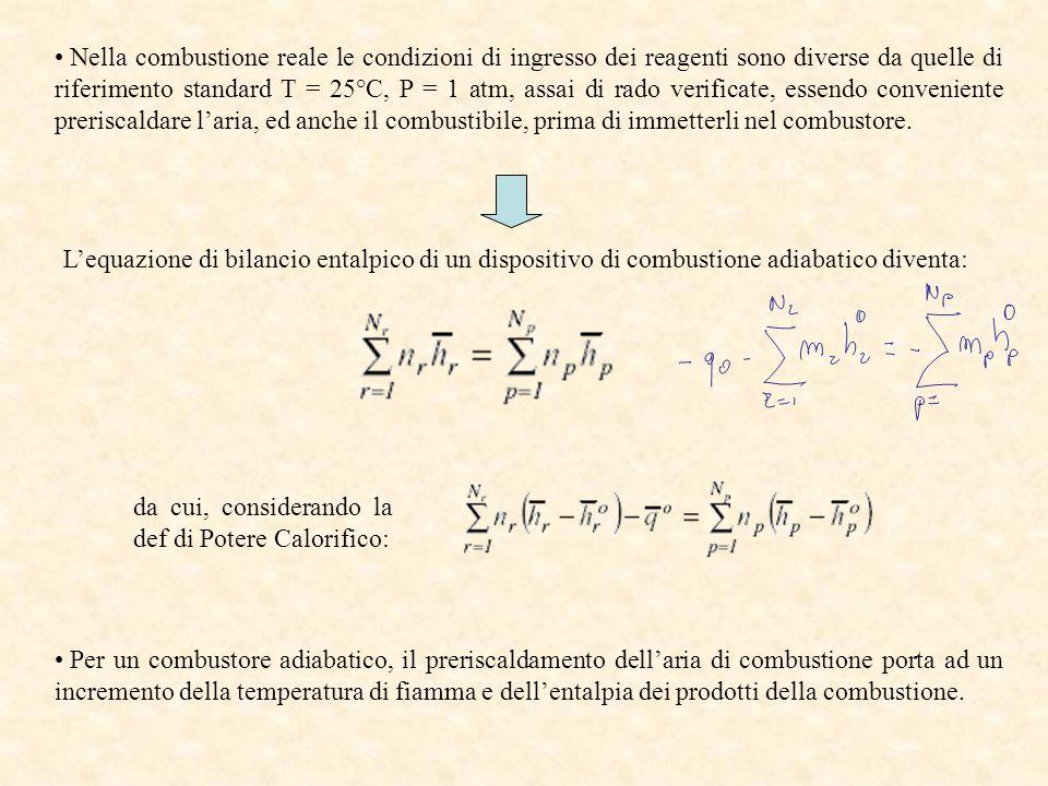 Nella combustione reale le condizioni di ingresso dei reagenti sono diverse da quelle di riferimento standard T = 25°C, P = 1 atm, assai di rado verif