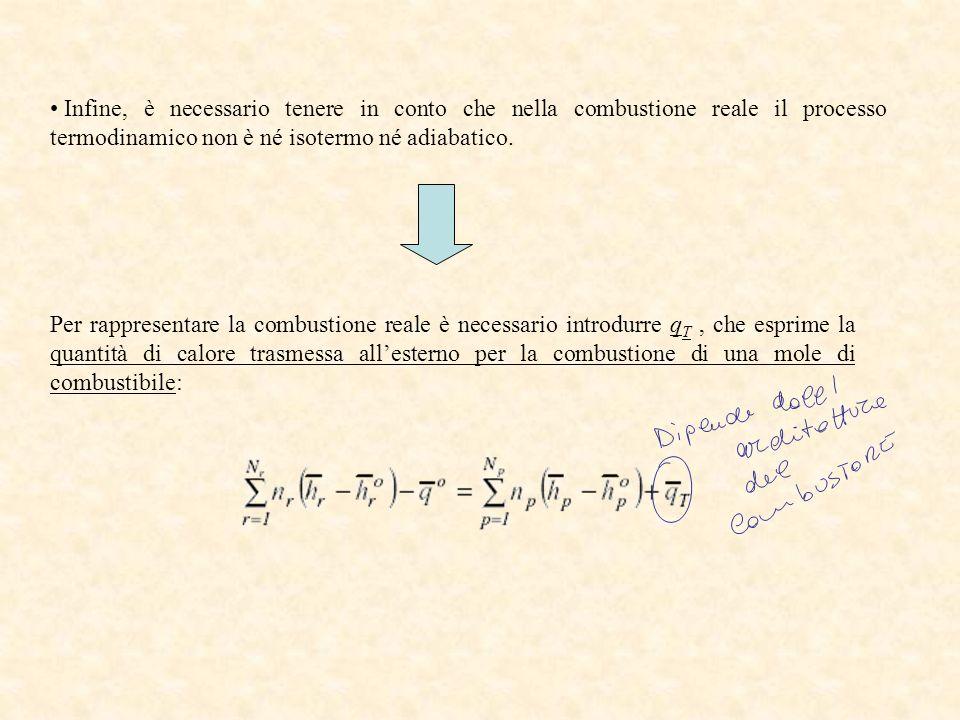 Infine, è necessario tenere in conto che nella combustione reale il processo termodinamico non è né isotermo né adiabatico. Per rappresentare la combu