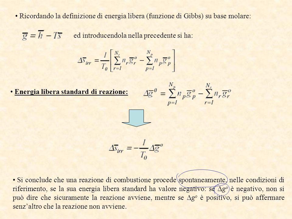 Ricordando la definizione di energia libera (funzione di Gibbs) su base molare: ed introducendola nella precedente si ha: Energia libera standard di r