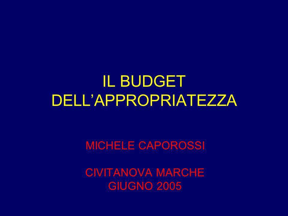 IL BUDGET DELLAPPROPRIATEZZA MICHELE CAPOROSSI CIVITANOVA MARCHE GIUGNO 2005