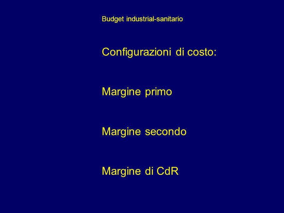 Budget industrial-sanitario Configurazioni di costo: Margine primo Margine secondo Margine di CdR