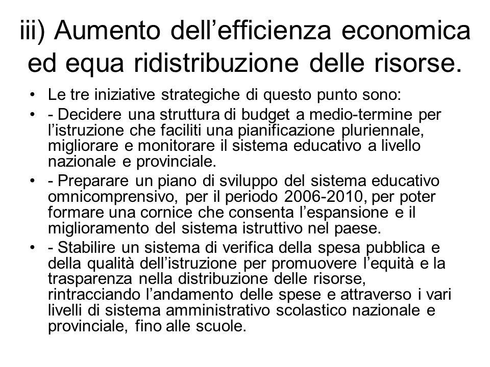 iii) Aumento dellefficienza economica ed equa ridistribuzione delle risorse.