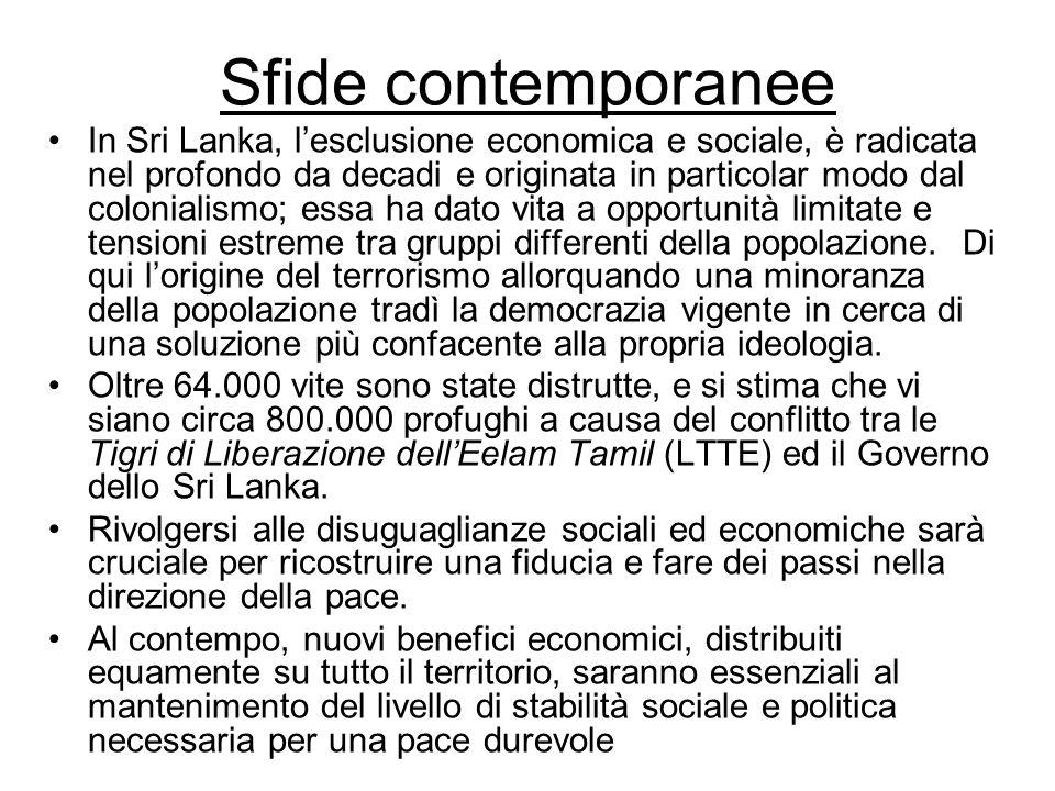Sfide contemporanee In Sri Lanka, lesclusione economica e sociale, è radicata nel profondo da decadi e originata in particolar modo dal colonialismo; essa ha dato vita a opportunità limitate e tensioni estreme tra gruppi differenti della popolazione.