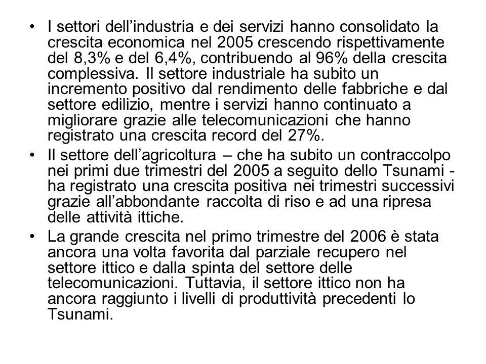 I settori dellindustria e dei servizi hanno consolidato la crescita economica nel 2005 crescendo rispettivamente del 8,3% e del 6,4%, contribuendo al 96% della crescita complessiva.