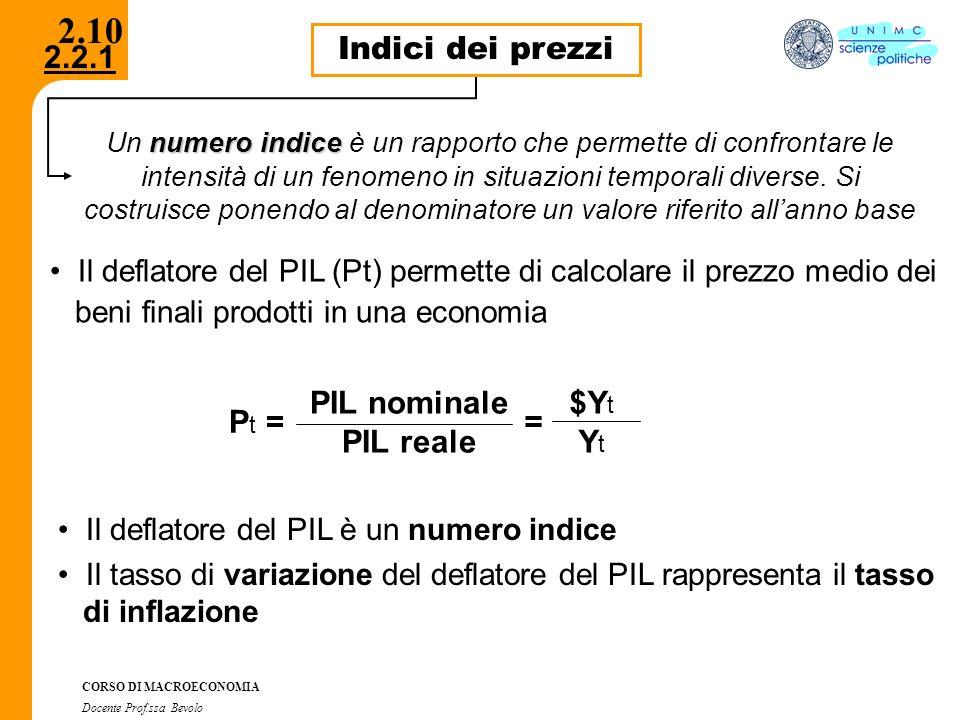 2.2.1 CORSO DI MACROECONOMIA Docente Prof.ssa Bevolo 2.10 Indici dei prezzi numero indice Un numero indice è un rapporto che permette di confrontare l