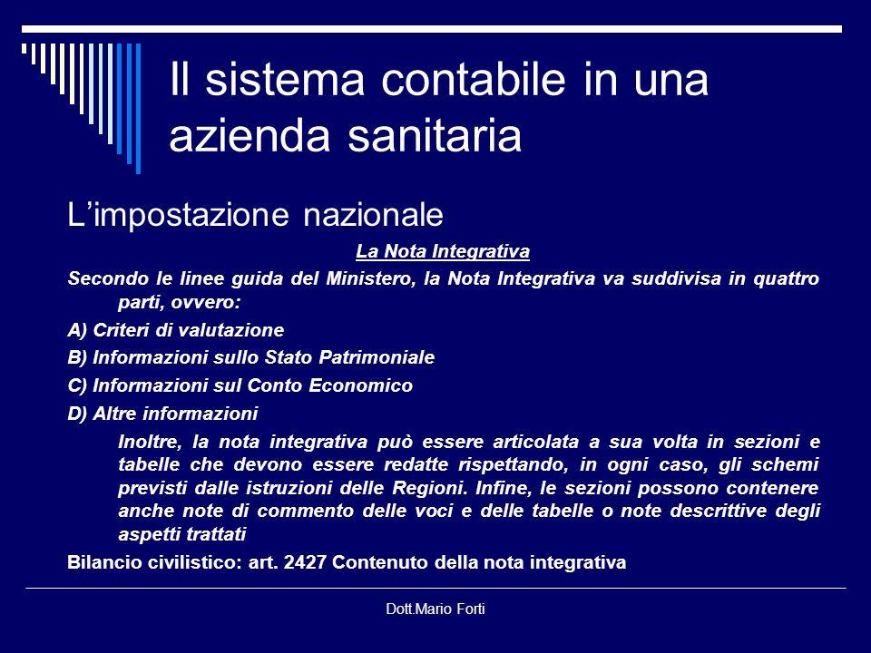 Dott.Mario Forti Il sistema contabile in una azienda sanitaria Quale schema di bilancio.