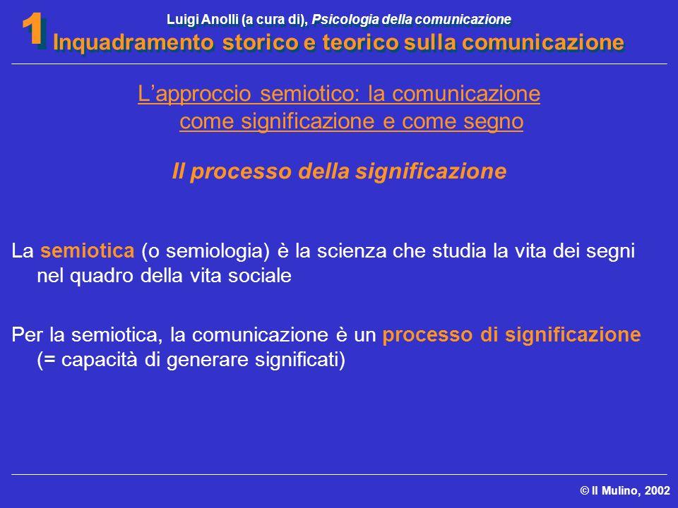 Luigi Anolli (a cura di), Psicologia della comunicazione Inquadramento storico e teorico sulla comunicazione © Il Mulino, 2002 1 1 Lapproccio semiotic