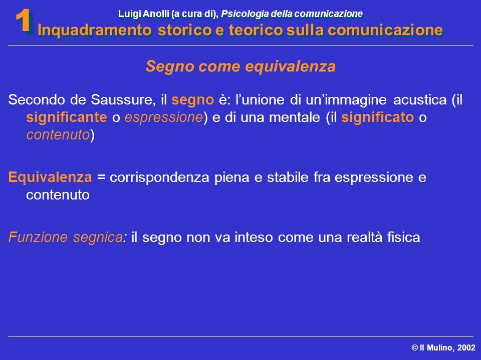 Luigi Anolli (a cura di), Psicologia della comunicazione Inquadramento storico e teorico sulla comunicazione © Il Mulino, 2002 1 1 Segno come equivale