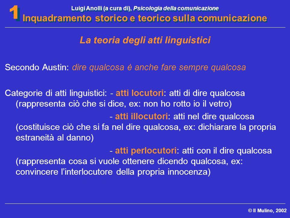 Luigi Anolli (a cura di), Psicologia della comunicazione Inquadramento storico e teorico sulla comunicazione © Il Mulino, 2002 1 1 La teoria degli att