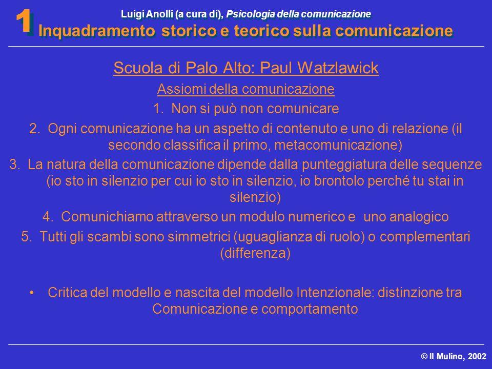 Luigi Anolli (a cura di), Psicologia della comunicazione Inquadramento storico e teorico sulla comunicazione © Il Mulino, 2002 1 1 Scuola di Palo Alto