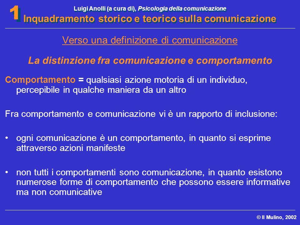 Luigi Anolli (a cura di), Psicologia della comunicazione Inquadramento storico e teorico sulla comunicazione © Il Mulino, 2002 1 1 Verso una definizio