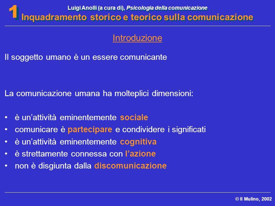 Luigi Anolli (a cura di), Psicologia della comunicazione Inquadramento storico e teorico sulla comunicazione © Il Mulino, 2002 1 1 Introduzione Il sog