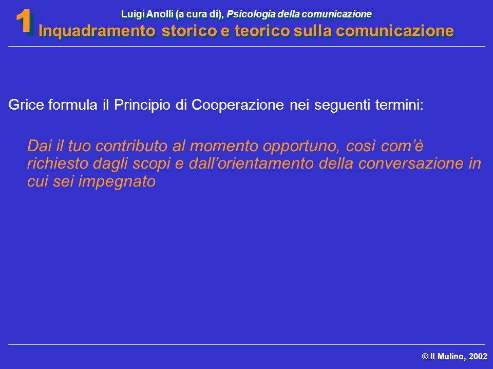 Luigi Anolli (a cura di), Psicologia della comunicazione Inquadramento storico e teorico sulla comunicazione © Il Mulino, 2002 1 1 Grice formula il Pr