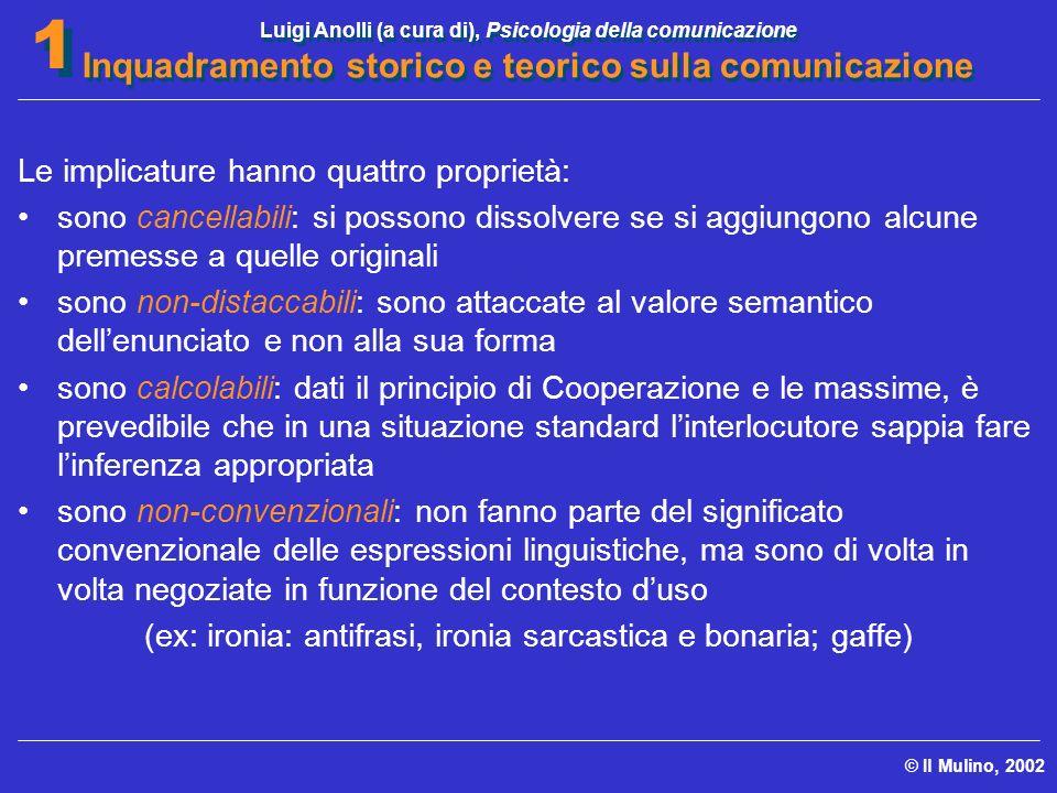 Luigi Anolli (a cura di), Psicologia della comunicazione Inquadramento storico e teorico sulla comunicazione © Il Mulino, 2002 1 1 Le implicature hann