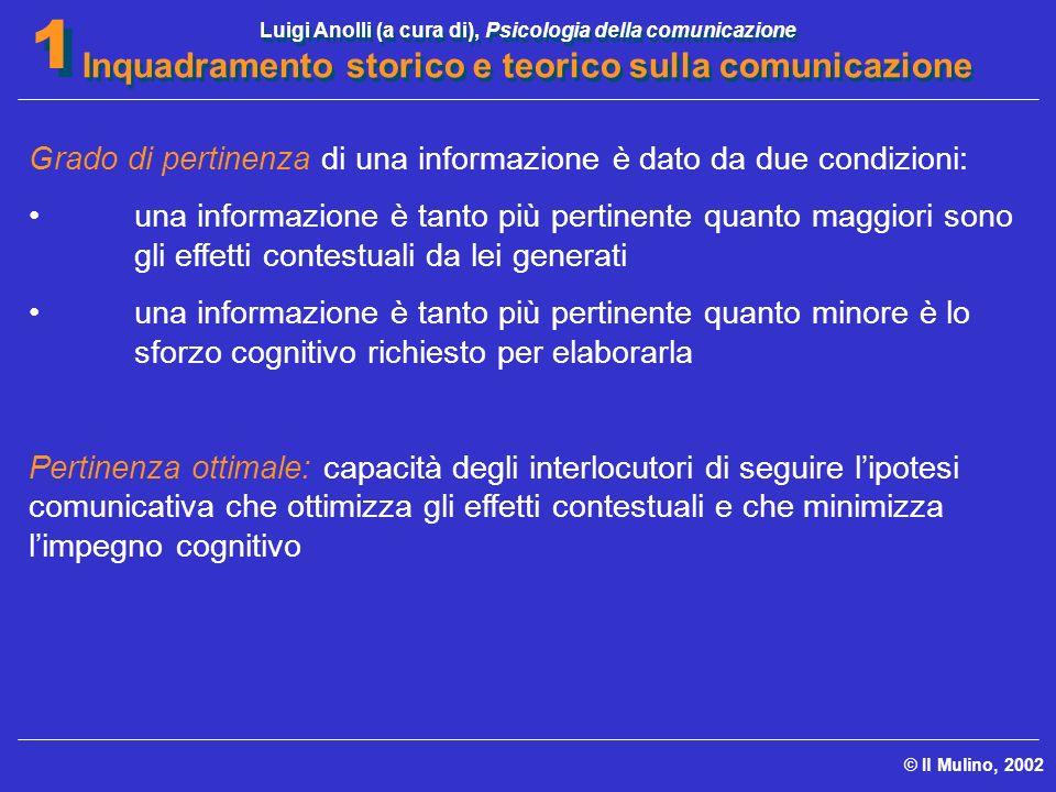Luigi Anolli (a cura di), Psicologia della comunicazione Inquadramento storico e teorico sulla comunicazione © Il Mulino, 2002 1 1 Grado di pertinenza