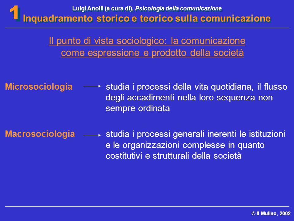 Luigi Anolli (a cura di), Psicologia della comunicazione Inquadramento storico e teorico sulla comunicazione © Il Mulino, 2002 1 1 Il punto di vista s