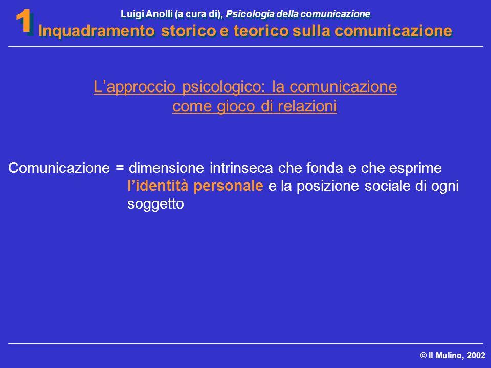 Luigi Anolli (a cura di), Psicologia della comunicazione Inquadramento storico e teorico sulla comunicazione © Il Mulino, 2002 1 1 Lapproccio psicolog