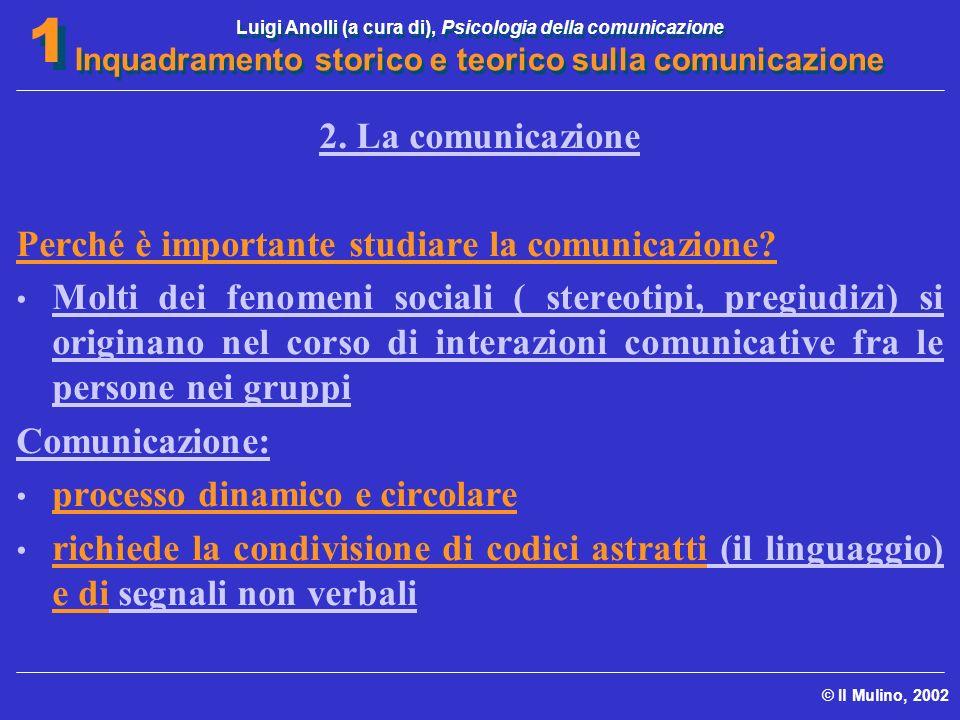 Luigi Anolli (a cura di), Psicologia della comunicazione Inquadramento storico e teorico sulla comunicazione © Il Mulino, 2002 1 1 2. La comunicazione