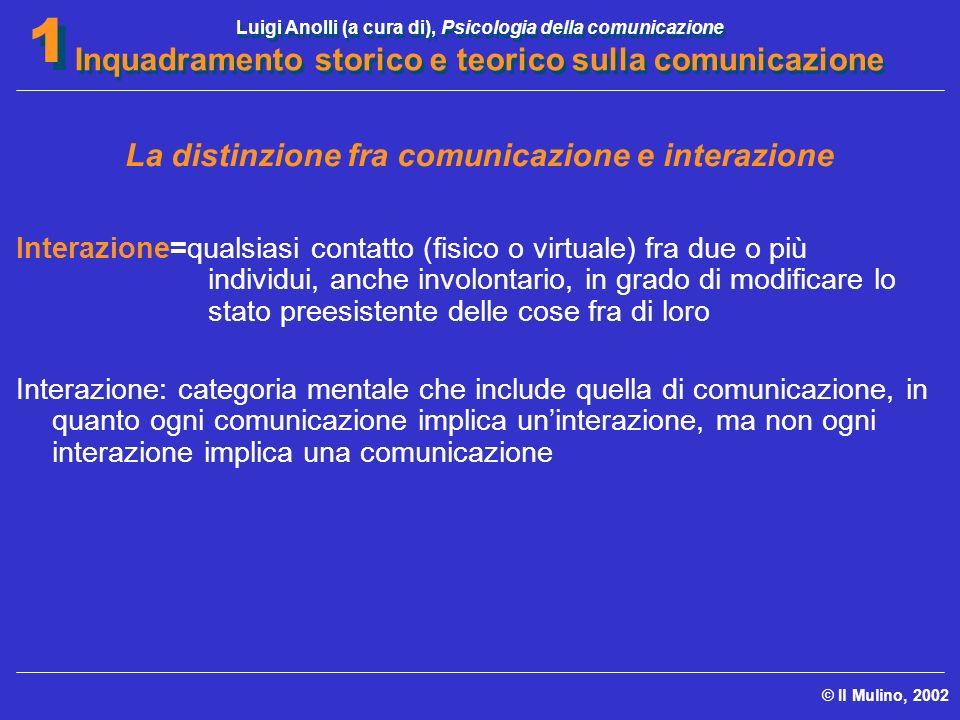 Luigi Anolli (a cura di), Psicologia della comunicazione Inquadramento storico e teorico sulla comunicazione © Il Mulino, 2002 1 1 La distinzione fra