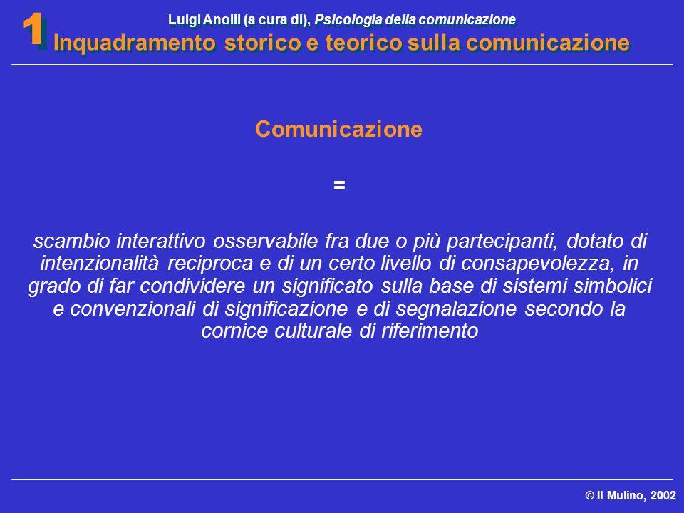 Luigi Anolli (a cura di), Psicologia della comunicazione Inquadramento storico e teorico sulla comunicazione © Il Mulino, 2002 1 1 Comunicazione = sca