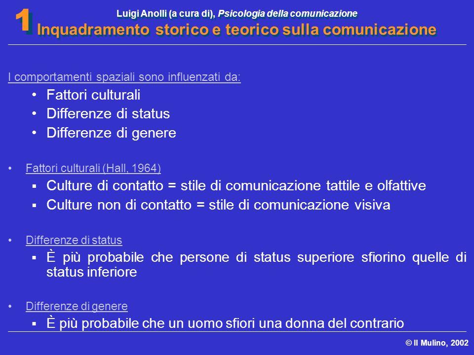 Luigi Anolli (a cura di), Psicologia della comunicazione Inquadramento storico e teorico sulla comunicazione © Il Mulino, 2002 1 1 I comportamenti spa