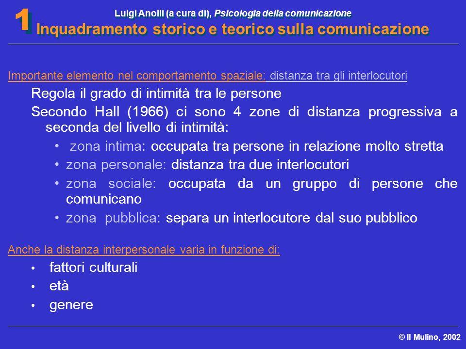 Luigi Anolli (a cura di), Psicologia della comunicazione Inquadramento storico e teorico sulla comunicazione © Il Mulino, 2002 1 1 Importante elemento
