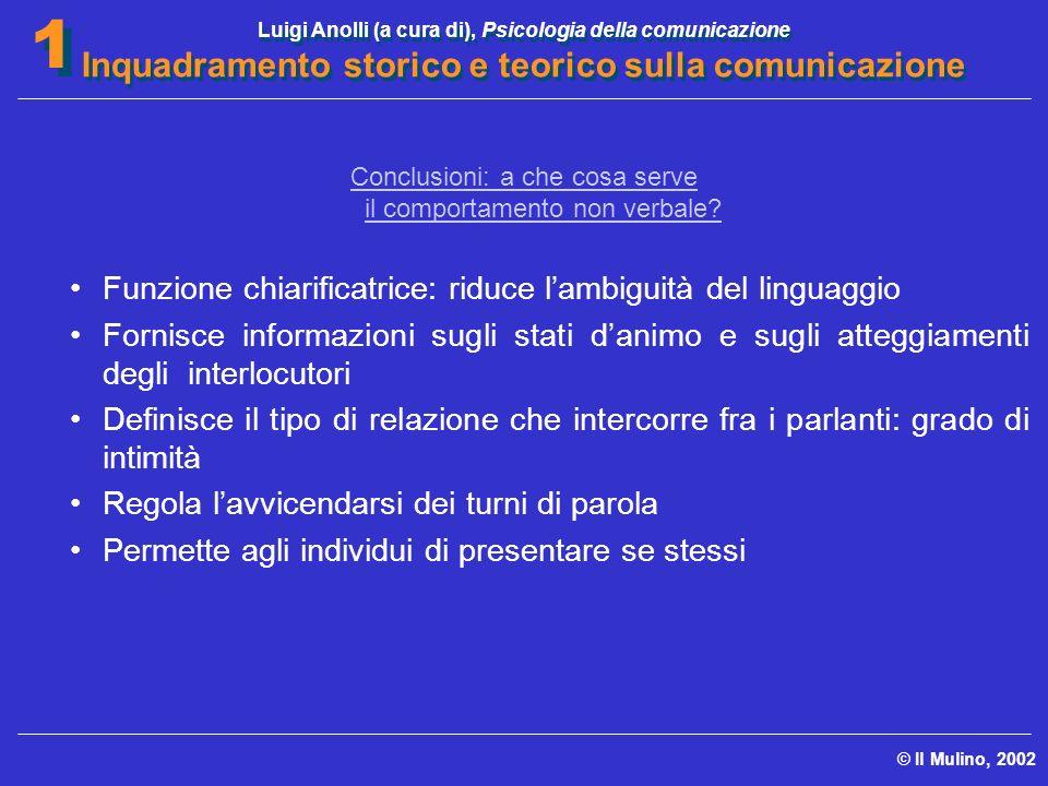 Luigi Anolli (a cura di), Psicologia della comunicazione Inquadramento storico e teorico sulla comunicazione © Il Mulino, 2002 1 1 Conclusioni: a che