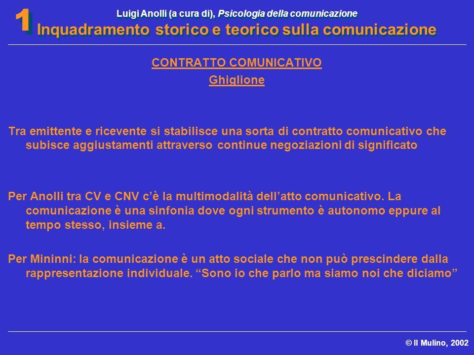 Luigi Anolli (a cura di), Psicologia della comunicazione Inquadramento storico e teorico sulla comunicazione © Il Mulino, 2002 1 1 CONTRATTO COMUNICAT