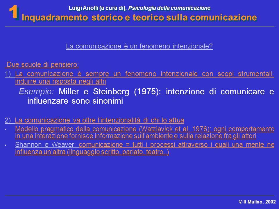 Luigi Anolli (a cura di), Psicologia della comunicazione Inquadramento storico e teorico sulla comunicazione © Il Mulino, 2002 1 1 La comunicazione è