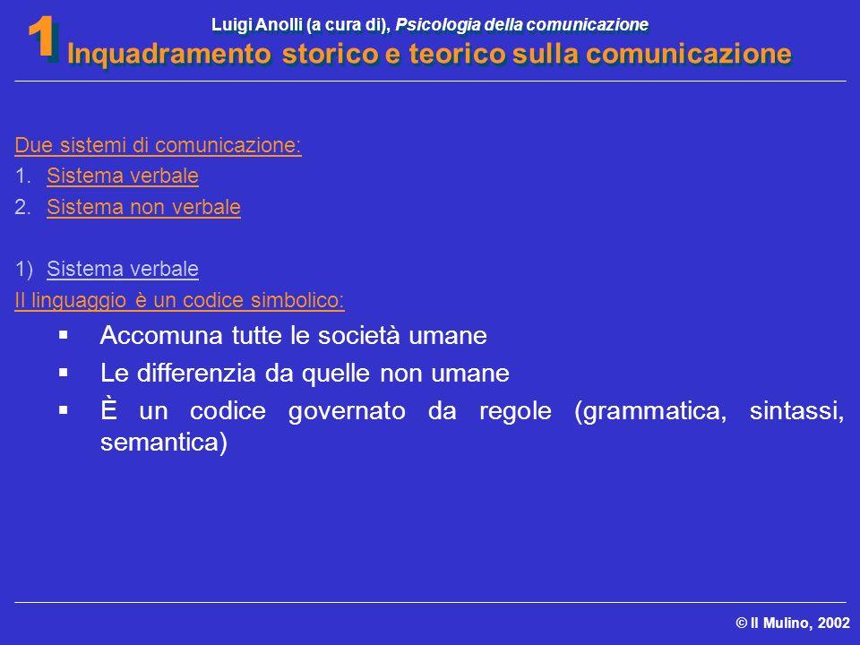 Luigi Anolli (a cura di), Psicologia della comunicazione Inquadramento storico e teorico sulla comunicazione © Il Mulino, 2002 1 1 Due sistemi di comu