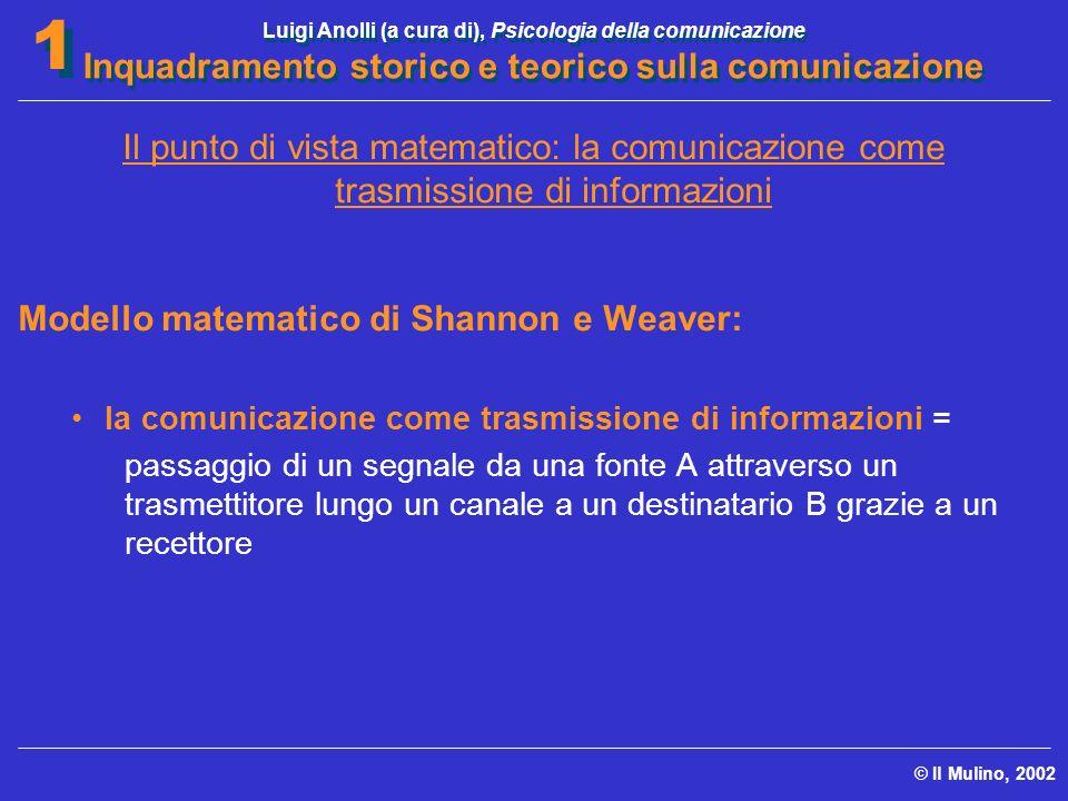 Luigi Anolli (a cura di), Psicologia della comunicazione Inquadramento storico e teorico sulla comunicazione © Il Mulino, 2002 1 1 Il punto di vista m