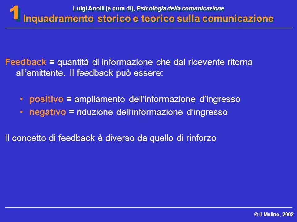 Luigi Anolli (a cura di), Psicologia della comunicazione Inquadramento storico e teorico sulla comunicazione © Il Mulino, 2002 1 1 Feedback = quantità