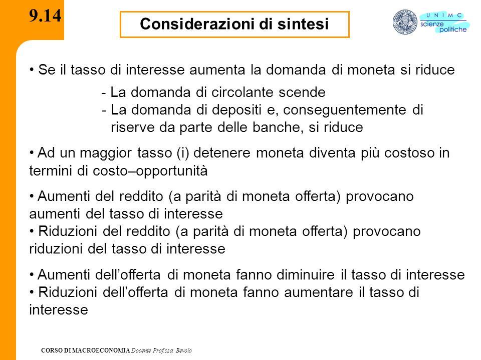 CORSO DI MACROECONOMIA Docente Prof.ssa Bevolo 9.14 Considerazioni di sintesi - La domanda di circolante scende - La domanda di depositi e, conseguent