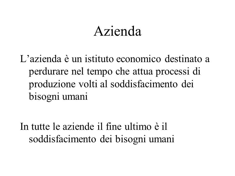Azienda Lazienda è un istituto economico destinato a perdurare nel tempo che attua processi di produzione volti al soddisfacimento dei bisogni umani I
