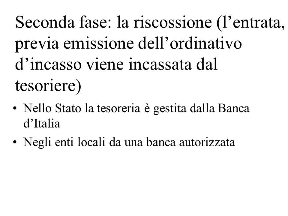 Seconda fase: la riscossione (lentrata, previa emissione dellordinativo dincasso viene incassata dal tesoriere) Nello Stato la tesoreria è gestita dalla Banca dItalia Negli enti locali da una banca autorizzata