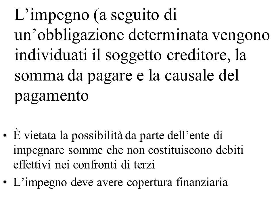 Limpegno (a seguito di unobbligazione determinata vengono individuati il soggetto creditore, la somma da pagare e la causale del pagamento È vietata l
