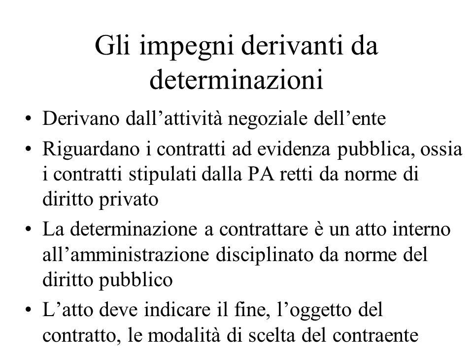 Gli impegni derivanti da determinazioni Derivano dallattività negoziale dellente Riguardano i contratti ad evidenza pubblica, ossia i contratti stipul