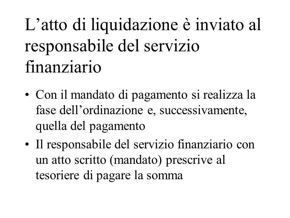 Latto di liquidazione è inviato al responsabile del servizio finanziario Con il mandato di pagamento si realizza la fase dellordinazione e, successiva