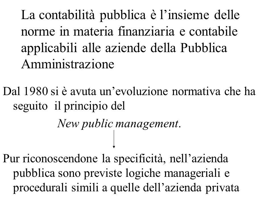 La contabilità pubblica è linsieme delle norme in materia finanziaria e contabile applicabili alle aziende della Pubblica Amministrazione Dal 1980 si è avuta unevoluzione normativa che ha seguito il principio del New public management.