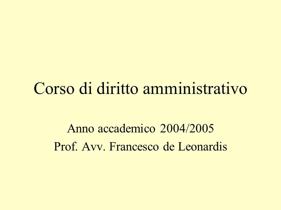 Corso di diritto amministrativo Anno accademico 2004/2005 Prof. Avv. Francesco de Leonardis
