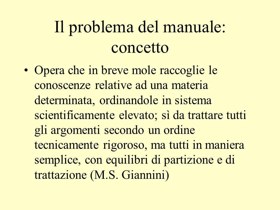 Il problema del manuale: concetto Opera che in breve mole raccoglie le conoscenze relative ad una materia determinata, ordinandole in sistema scientif