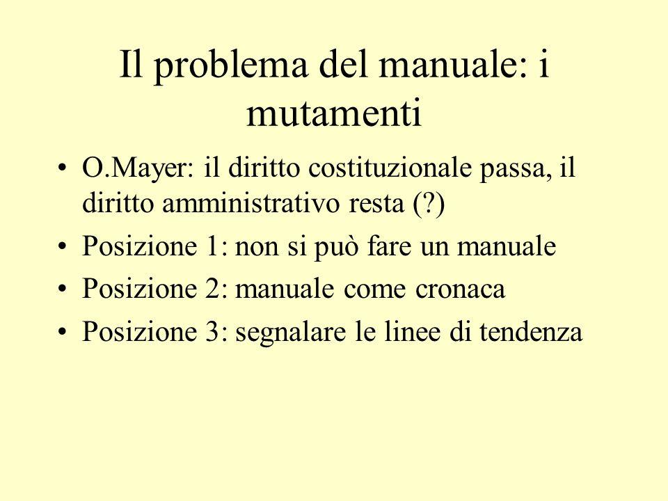Il problema del manuale: i mutamenti O.Mayer: il diritto costituzionale passa, il diritto amministrativo resta (?) Posizione 1: non si può fare un man