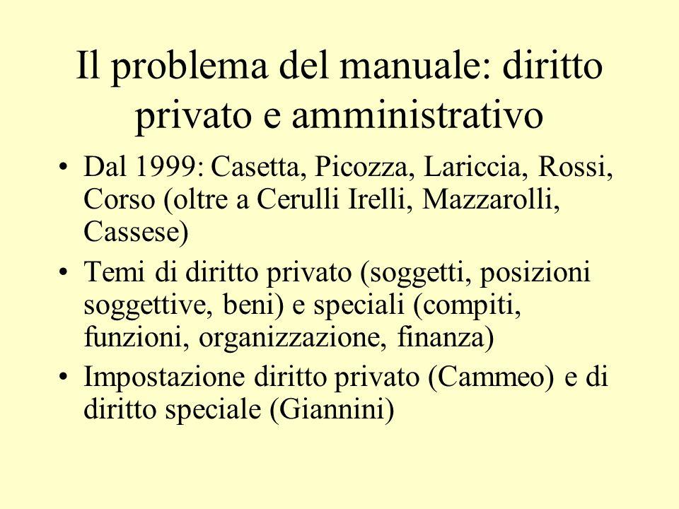 Il problema del manuale: diritto privato e amministrativo Dal 1999: Casetta, Picozza, Lariccia, Rossi, Corso (oltre a Cerulli Irelli, Mazzarolli, Cass