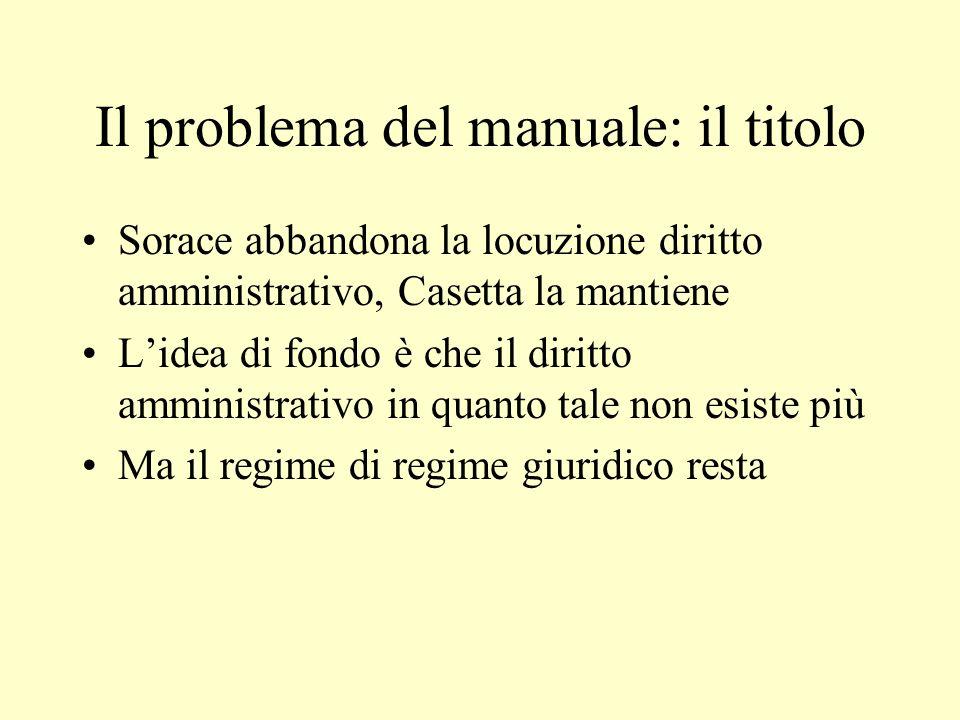 Il problema del manuale: il titolo Sorace abbandona la locuzione diritto amministrativo, Casetta la mantiene Lidea di fondo è che il diritto amministr
