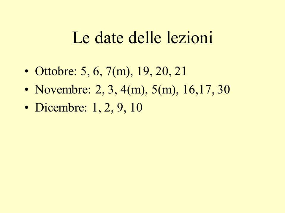 Le date delle lezioni Ottobre: 5, 6, 7(m), 19, 20, 21 Novembre: 2, 3, 4(m), 5(m), 16,17, 30 Dicembre: 1, 2, 9, 10