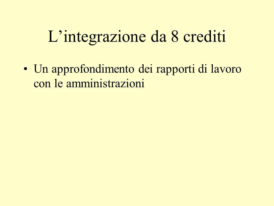 Lintegrazione da 8 crediti Un approfondimento dei rapporti di lavoro con le amministrazioni