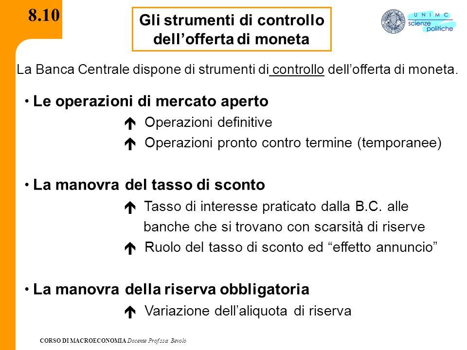 CORSO DI MACROECONOMIA Docente Prof.ssa Bevolo 8.10 Gli strumenti di controllo dellofferta di moneta La Banca Centrale dispone di strumenti di control