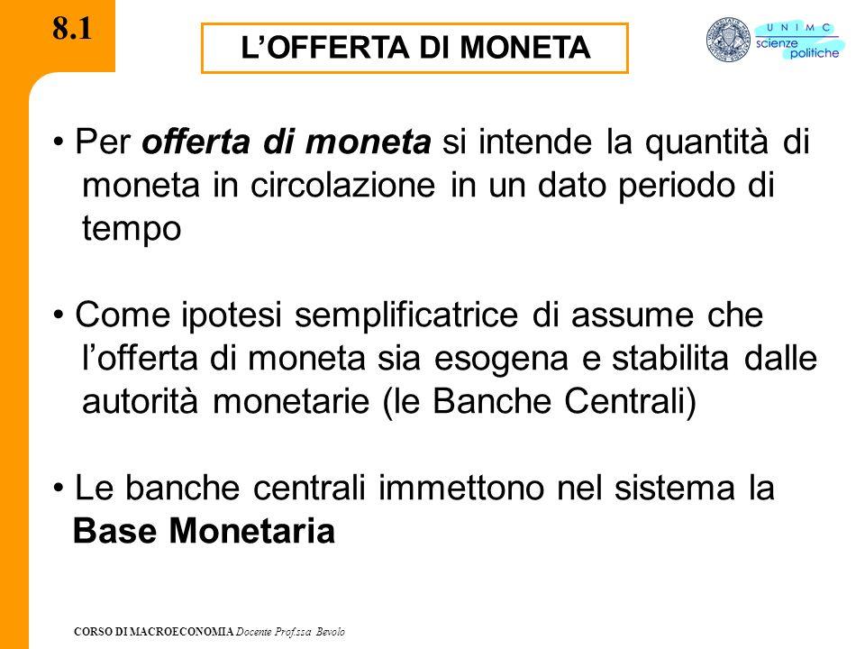 CORSO DI MACROECONOMIA Docente Prof.ssa Bevolo 8.1 LOFFERTA DI MONETA Per offerta di moneta si intende la quantità di moneta in circolazione in un dat