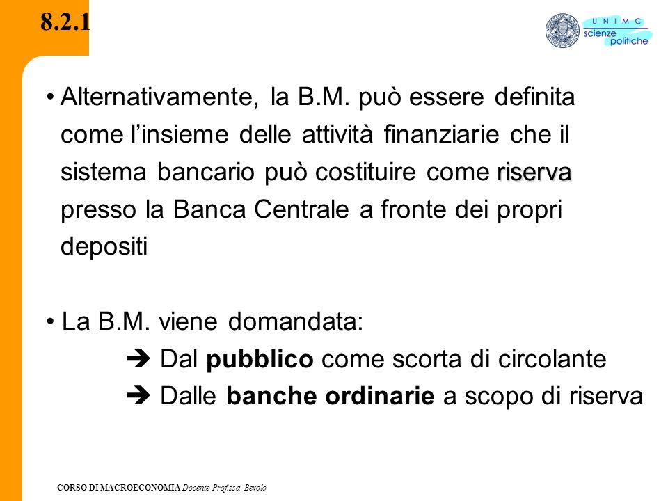 CORSO DI MACROECONOMIA Docente Prof.ssa Bevolo 8.2.1 Alternativamente, la B.M. può essere definita come linsieme delle attività finanziarie che il ris
