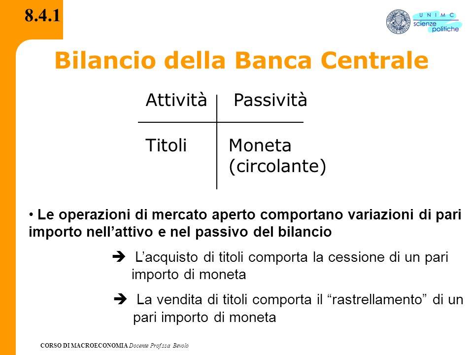 CORSO DI MACROECONOMIA Docente Prof.ssa Bevolo 8.4.1 Bilancio della Banca Centrale AttivitàPassività TitoliMoneta (circolante) Le operazioni di mercat